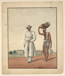 Cook returning from the bazaar followed by a coolie carrying vegetables.